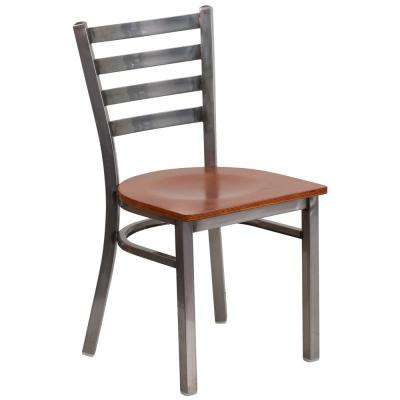 Hercules Series Clear Coated Ladder Back Metal Restaurant Chair with Cherry Wood Seat
