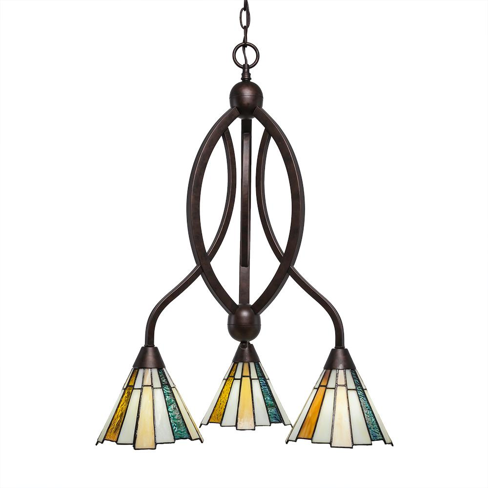 Filament Design 3-Light Bronze Chandelier with 7 in. Sequoia TiffGlass Glass