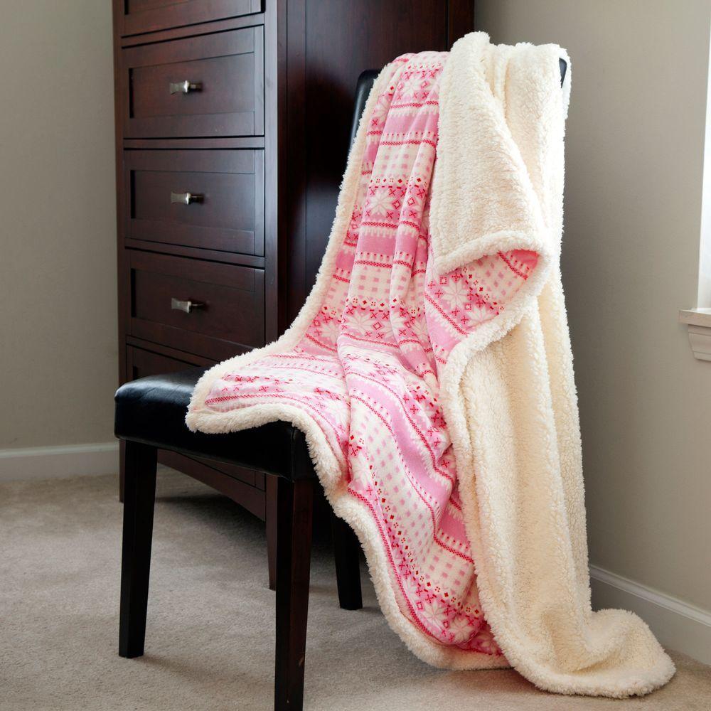 Lavish Home Pink Snowflakes Fleece Sherpa Polyester Throw Blanket 61