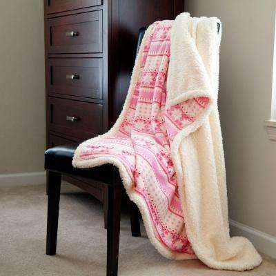 Pink Snowflakes Fleece Sherpa Polyester Throw Blanket
