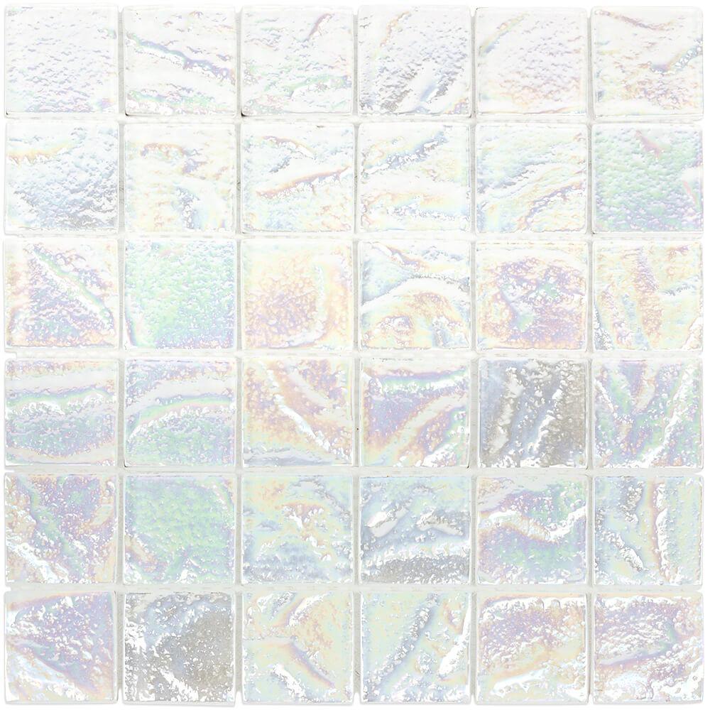 Splashback Tile Marina Iridescent Squares White 11.75 in ...