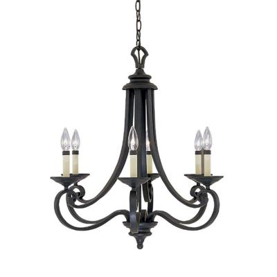 Barcelona 6-Light Hanging Natural Iron Chandelier