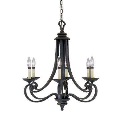 Monte Carlo 6 Light Hanging Natural Iron Chandelier