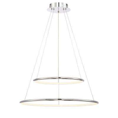 Valley Collection 37-Watt Chrome Integrated LED Pendant