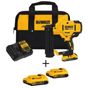 Click here to buy Dewalt 20-Volt Max Lithium-Ion 18-Gauge Cordless Brad Nailer Kit with Bonus Battery 2-Pack (2.0Ah) by DEWALT.