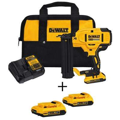 20-Volt Max Lithium-Ion 18-Gauge Cordless Brad Nailer Kit with Bonus Battery 2-Pack (2.0Ah)