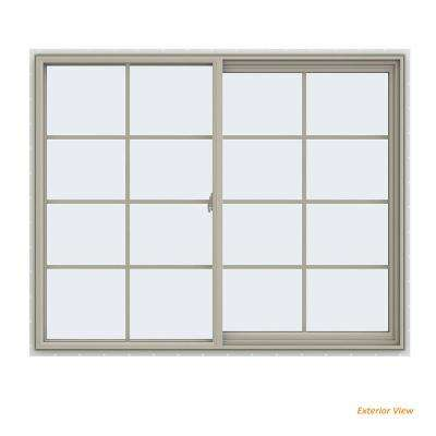 59.5 in. x 47.5 in. V-2500 Series Desert Sand Vinyl Right-Handed Sliding Window with Colonial Grids/Grilles