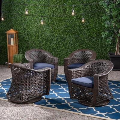 Big Sur Multi-Brown Swivel Wicker Outdoor Lounge Chair with Navy Blue Cushion (4-Pack)