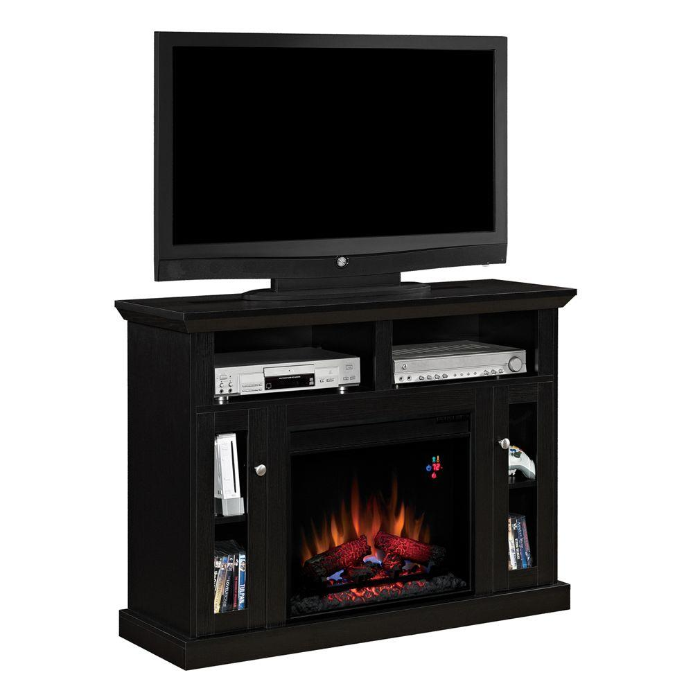 Chimney Free 48 in. Media Console Electric Fireplace in Black-DISCONTINUED