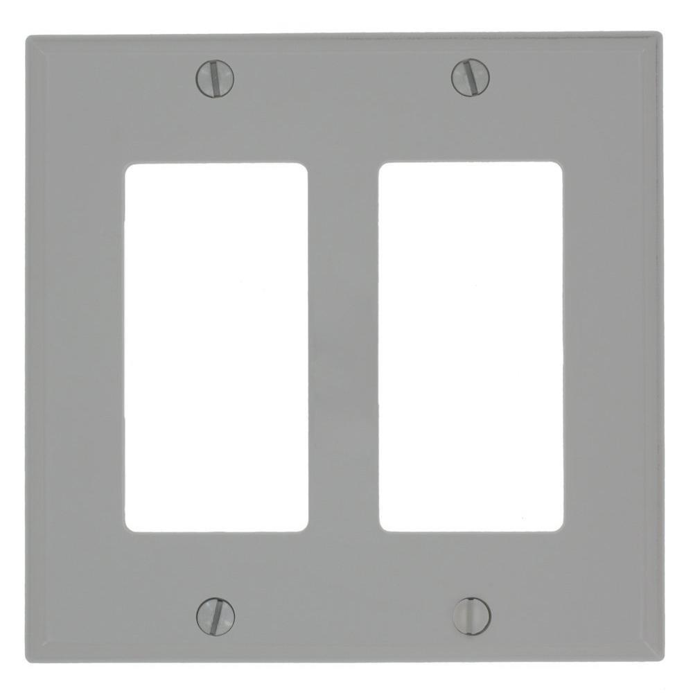 2-Gang Decora Nylon Wall Plate, Gray