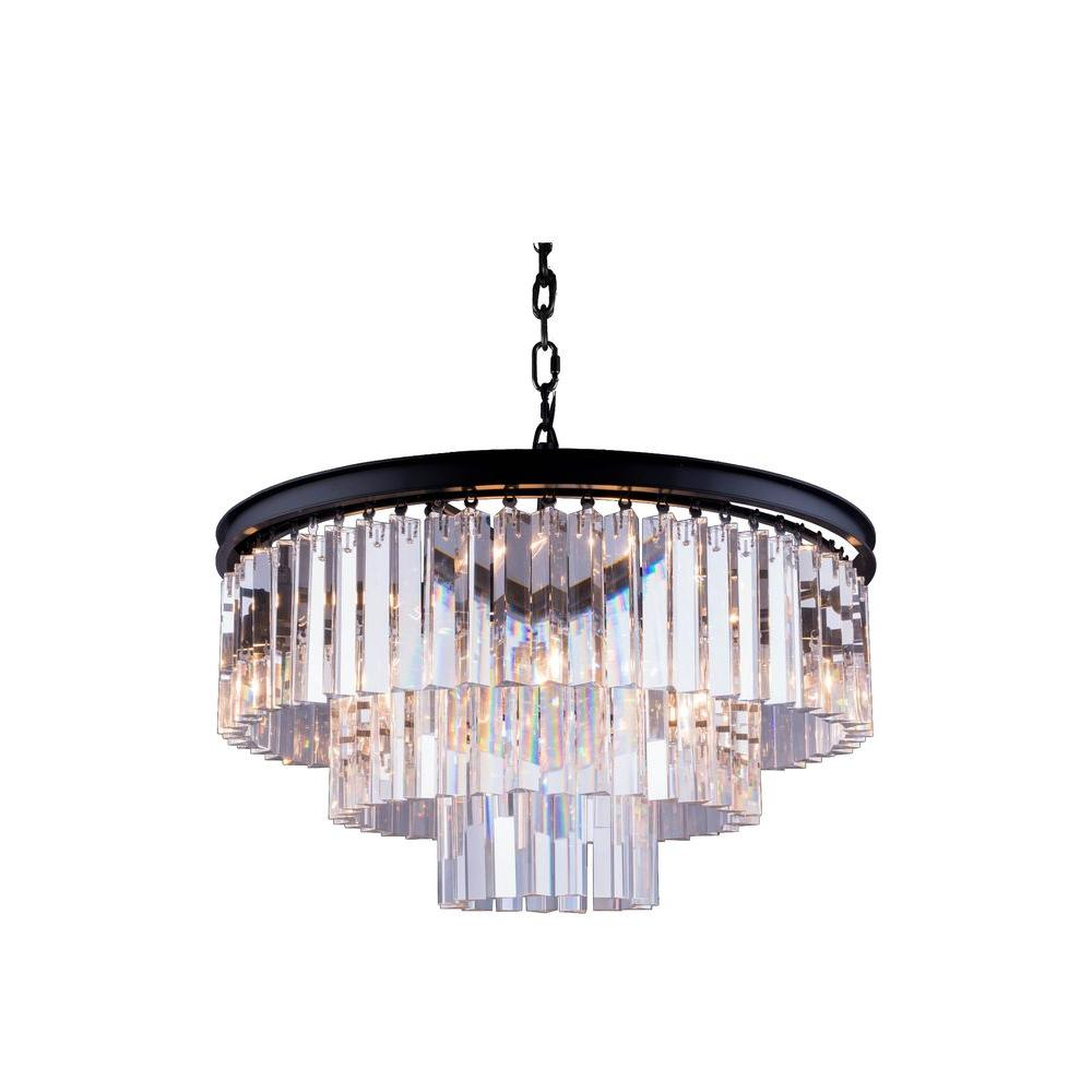 Elegant lighting sydney 9 light mocha brown chandelier with clear elegant lighting sydney 9 light mocha brown chandelier with clear crystal aloadofball Image collections