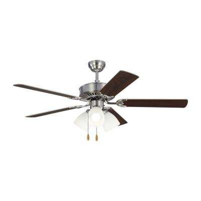 Haven LED 3 52 in. Indoor Brushed Steel Ceiling Fan with Light Kit