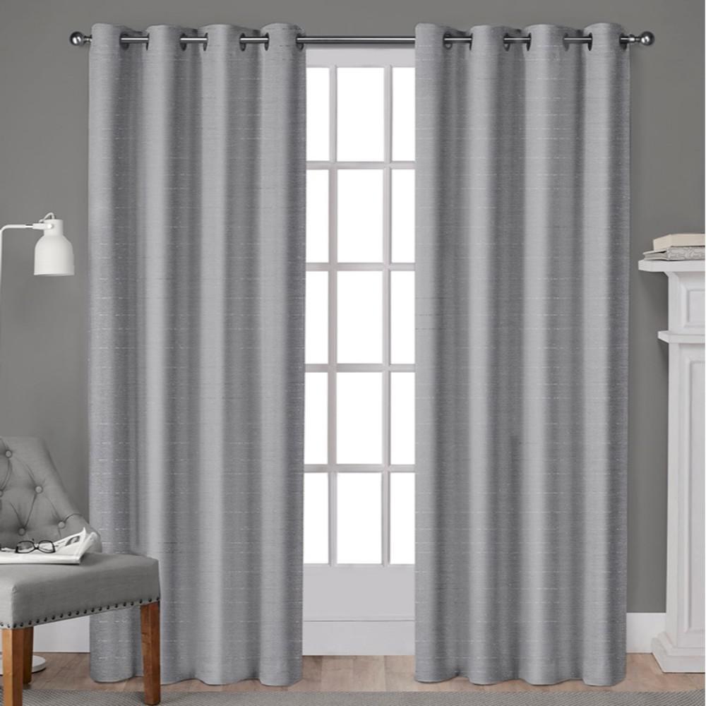Whitby Silver Metallic Slub Yarn Textured Silk Look Grommet Top Window Curtain