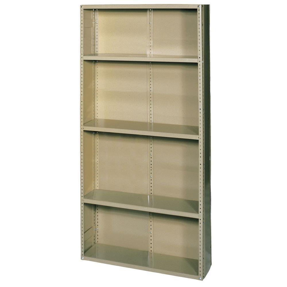 75 in. H x 36 in. W x 24 in. D 5-Shelf Commercial Grade Closed Steel Shelving Unit in Tan