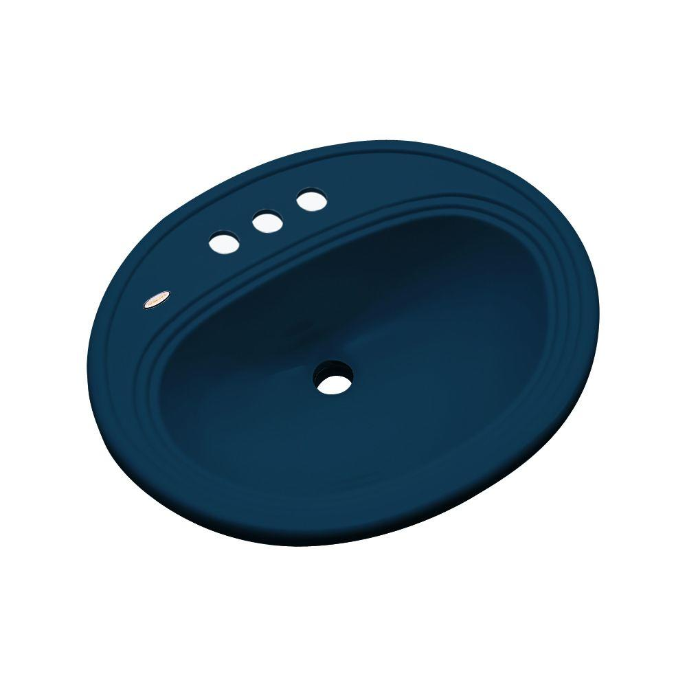 Thermocast Summit Drop-In Bathroom Sink in Navy Blue