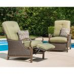 Ventura Reclining Wicker Outdoor Lounge Chair with Vintage Meadow Cushion