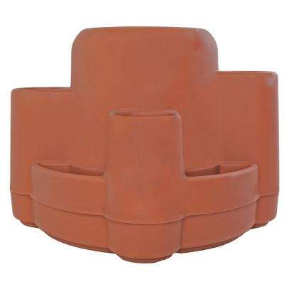 21 in. Terra Cotta Plastic Mayan Planter