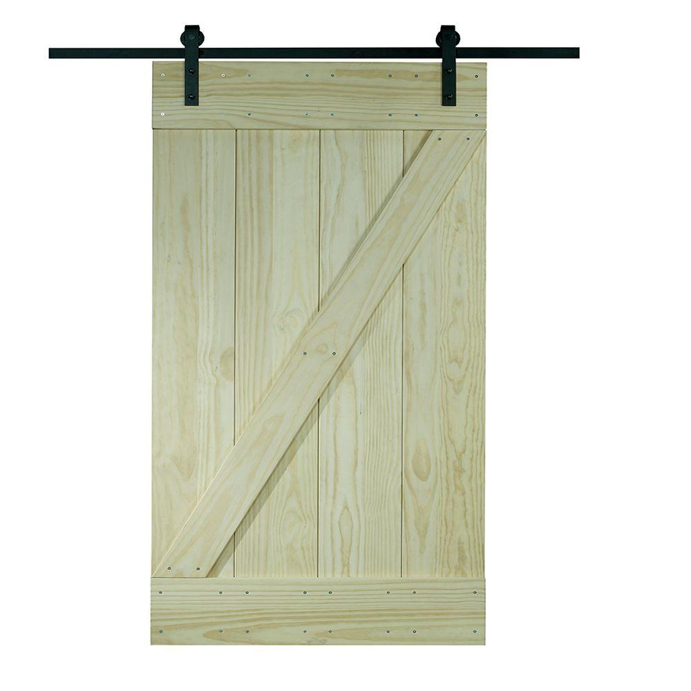 Superieur Timber Hill Wood Ready To Assemble Barn Door With Sliding Door Hardware  Kit 8BDSW3080KDZ   The Home Depot
