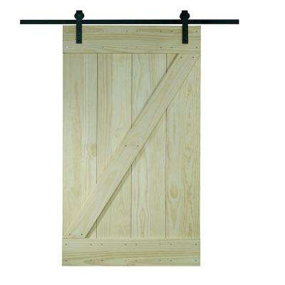 34 in. x 81 in. Timber Hill Wood Ready to Assemble Barn Door with Sliding Door Hardware Kit
