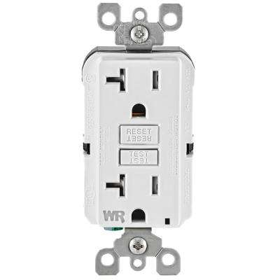 20 Amp 125-Volt Duplex Self-Test Tamper Resistant/Weather Resistant GFCI Outlet, White