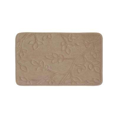 Spring Leaves Linen 17 in. x 24 in. Memory Foam Bath Mat