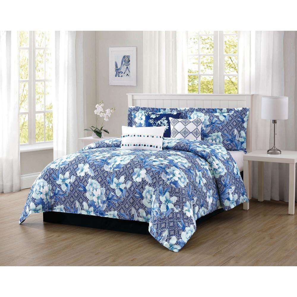 Ava 7-Piece Blue Queen Comforter Set
