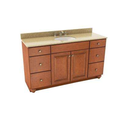 Charlottesville 61 in. Vanity in Cognac with Silestone Quartz Vanity Top in Bamboo and Oval White Sink