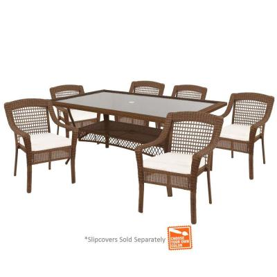Spring Haven Brown 7-Piece Wicker Outdoor Patio Dining Set with Cushions Included, Choose Your Own Color