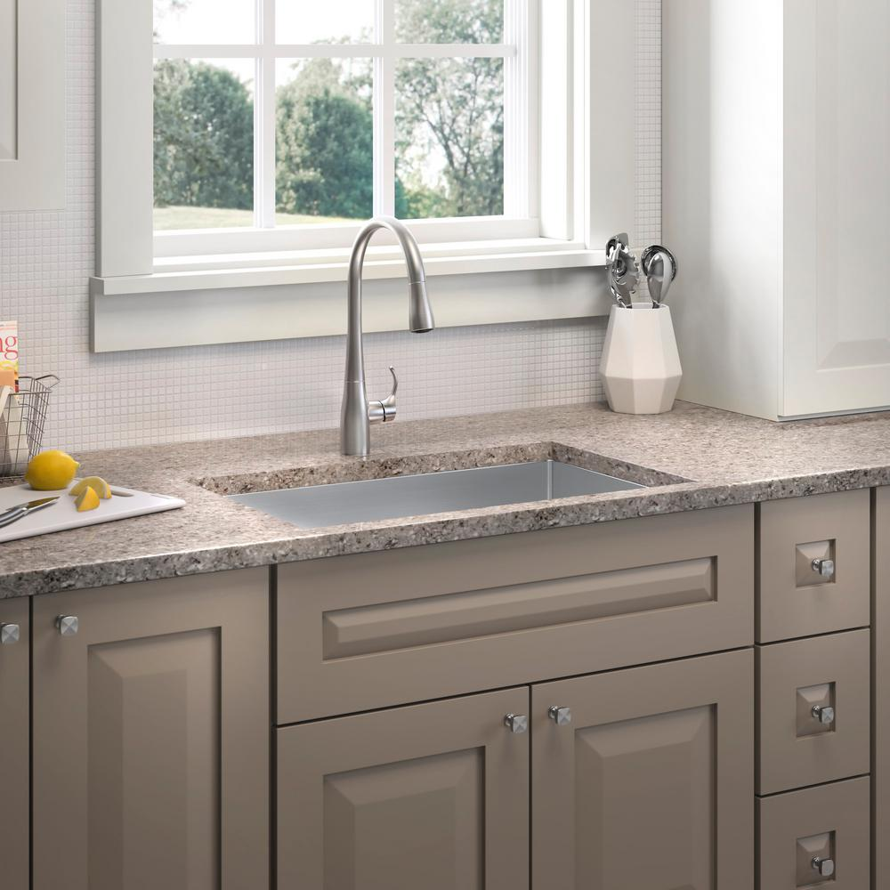 Kohler strive undermount stainless steel 29 in single bowl kitchen sink with simplice faucet