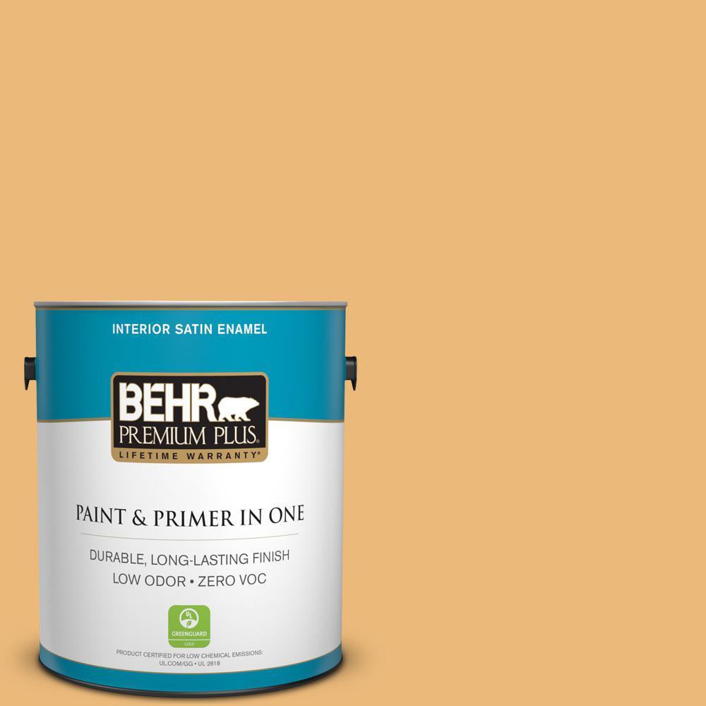 BEHR Premium Plus 1-gal. #BXC-61 Early Harvest Satin Enamel Interior Paint