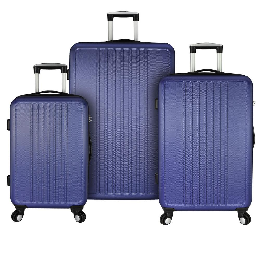 Elite Luggage Versatile 3-Piece Hardside Spinner Luggage Set, Purple