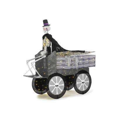 74 in. Halloween Coffin Carriage and Skeleton