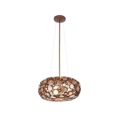 Fascination 3-Light Hammered Ore Donut Chandelier with Clear Glass