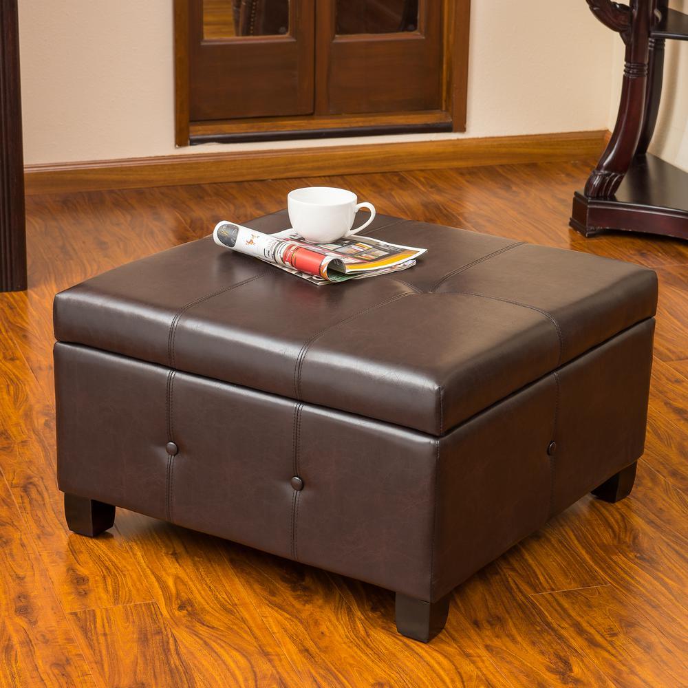 Le House Hudson Walnut Brown Bonded Leather Storage