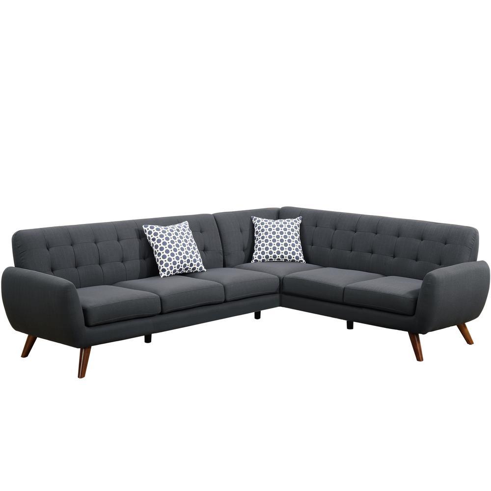 2-Piece Ash Black Polyfiber (Linen-Like Fabric) Contemporary Sectional Sofa