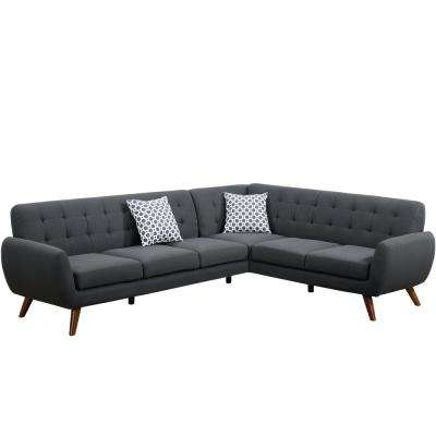 2-Piece Ash Black Polyfiber (Linen-Like Fabric) Contemporary Sectional Sofa