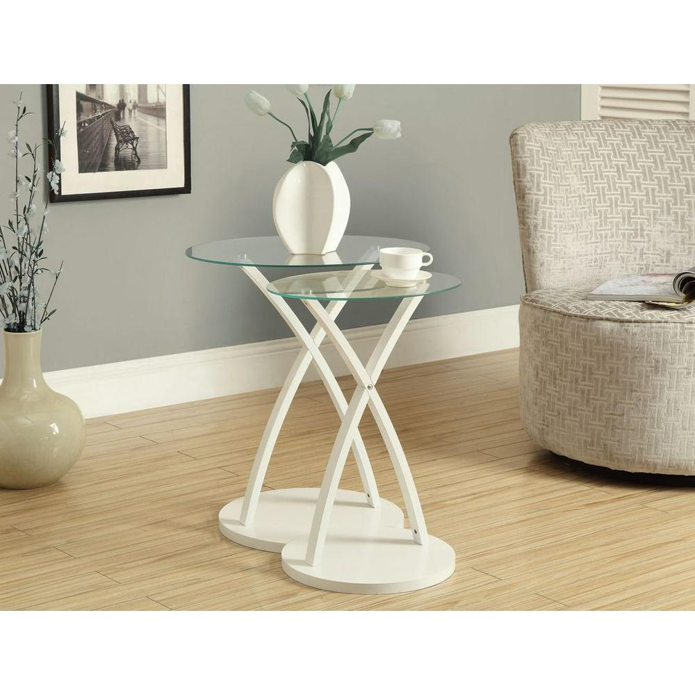 Monarch Specialties Bentwood White 2-Piece Nesting End Table
