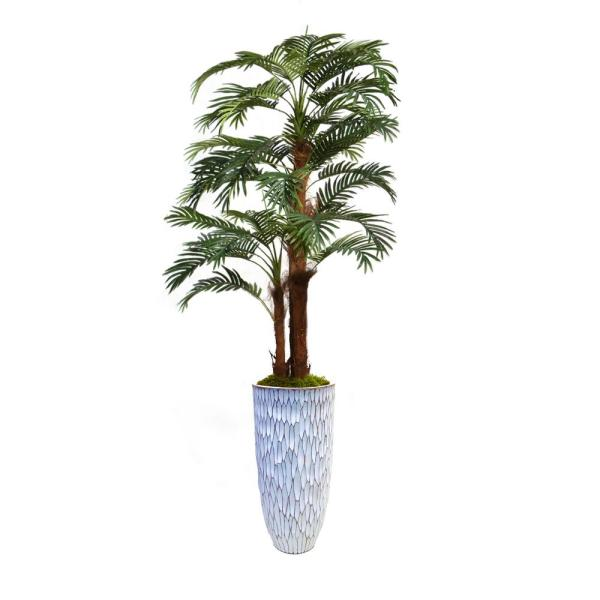 Laura Ashley 85.5 in. Palm Tree Faux Dcor with Burlap Kit