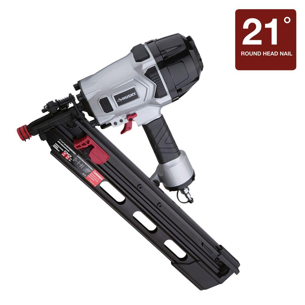 husky pneumatic 3-1/2 in. 21-degree full-head strip framing nailer