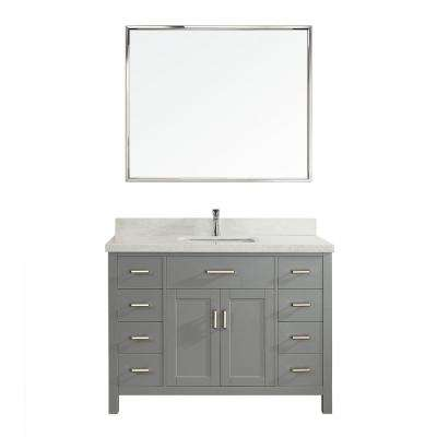Kalize II 48 in. W x 22 in. D Vanity in Oxford Gray with Engineered Vanity Top in White with White Basin and Mirror