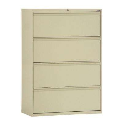 800 Series 36 in. W 4-Drawer Full Pull Lateral File Cabinet in Putty