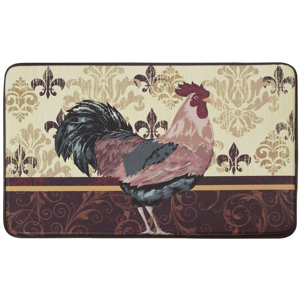 Chef Gear Imperial Rooster 18 in. x 30 in. Faux Leather Comfort Kitchen Mat