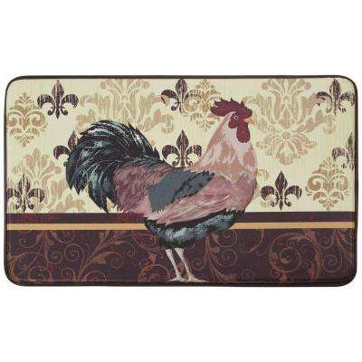 Imperial Rooster 18 in. x 30 in. Faux Leather Comfort Kitchen Mat