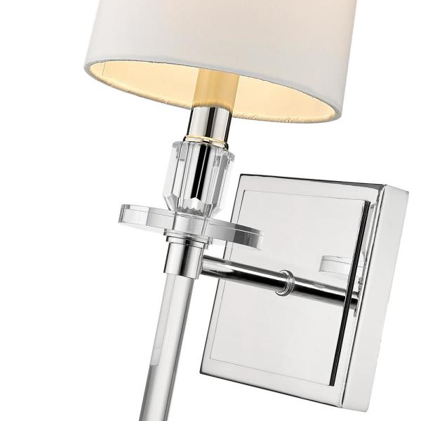Filament Design 1 Light Polished Nickel Wall Sconce With White Fabric Shade Hd Te46905 The Home Depot