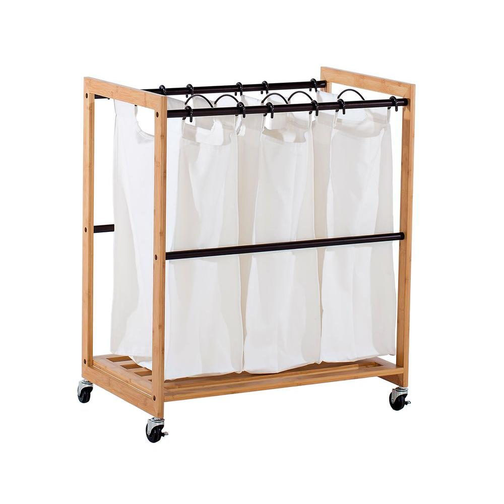 Trinity EcoStorage Wheeled 3 Bag Bamboo Laundry Cart With Bronze Poles