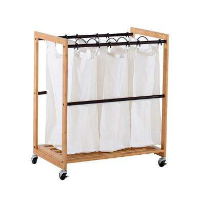 EcoStorage Wheeled 3-Bag Bamboo Laundry Cart with Bronze Poles