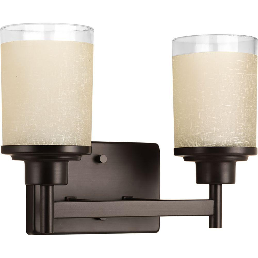 Alexa Collection 2-Light Antique Bronze Vanity Light with Etched Umber Linen