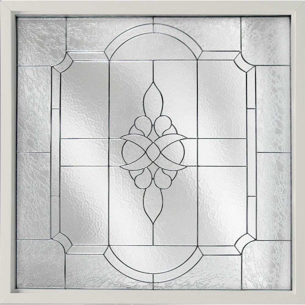 47.5 in. x 47.5 in. Decorative Glass Fixed Vinyl Glass Block Windows Victorian Glass, Black Caming in White