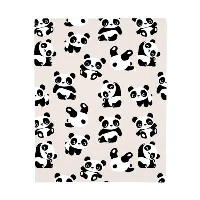 Super Soft Taupe, Black and White Playful Panda Polyester Fitted Crib Sheet