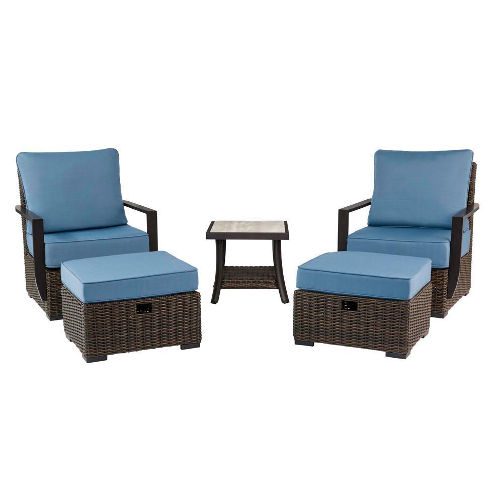 Whitfield 5-Piece Dark Brown Wicker Outdoor Patio Bistro Set with Standard Steel Blue Cushions (2-Pack)